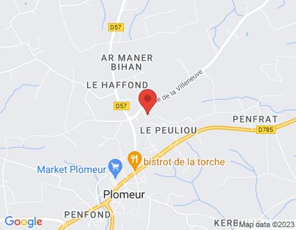 Carte  29120 Plomeur Route De La Villeneuve partagé par Service de cartographie Google Maps™