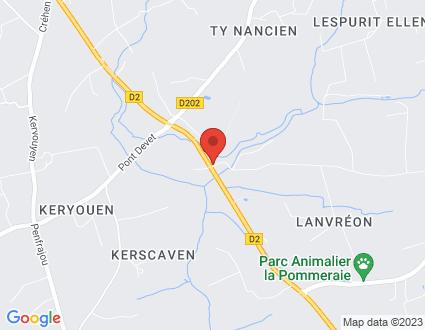 Carte  29720 Plovan Moulin De Pontalan partagé par Service de cartographie Google Maps™